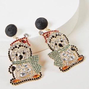 Fun Holiday Pave Stone Penguin Earrings
